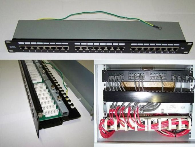 "Patch panel STP 19"" 1U rack, 24port RJ45, Cat5e stíněný, narážecí"