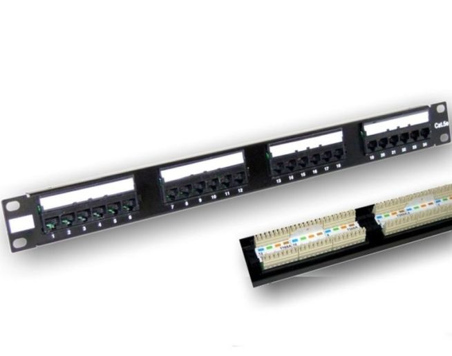 "Patch panel 19"" 1U rack, 24port RJ45, Cat5e - narážecí, černý"