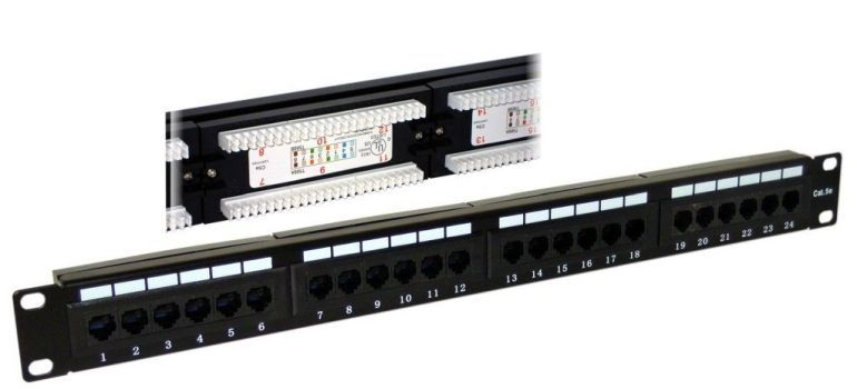 "Patch panel 19"" 1U rack, 24port RJ45, Cat5e - narážecí, robusnější"
